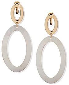 Gold-Tone Oval Drop Clip-On Earrings