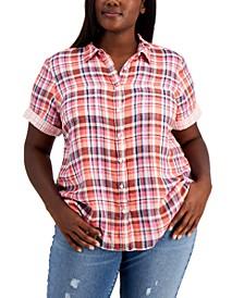 Plus Size Double Cloth Camp Shirt