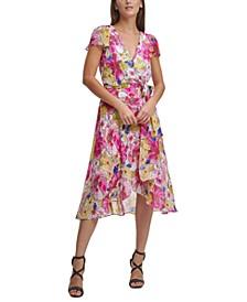 Floral-Print Flutter-Sleeve Faux-Wrap Midi Dress