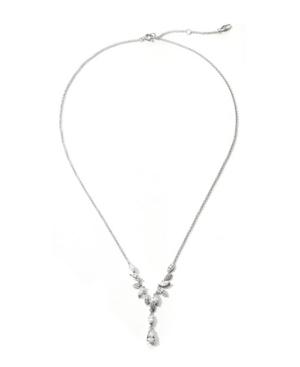 Rhodium Plated Leaf Y-Shaped Necklace