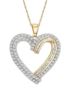 """Diamond Double Heart 18"""" Pendant Necklace (1 ct. t.w.) in 10k Gold"""