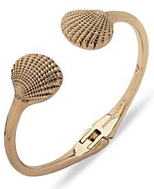 Gold-Tone Shell Open Hinge Bracelet