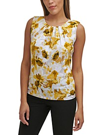 Floral-Print Pleated-Neck Top