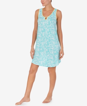 Lace-Trim Printed Chemise Nightgown