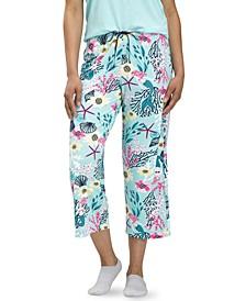 Women's Tropical Print Capri Pajama Pants