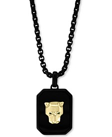 """EFFY® Onyx & Tsavorite Accent Panther Dog Tag 22"""" Pendant Necklace in Black Ion-Plated Sterling Silver & 18k Gold"""