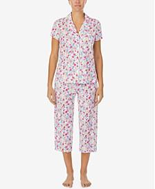 Petite Printed Knit Capri Pants Pajama Set