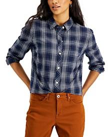 Plaid Button-Down Boyfriend Shirt, Created for Macy's