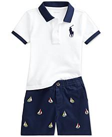 Ralph Lauren Baby Boys Polo Shirt & Embroidered Chino Shorts Set