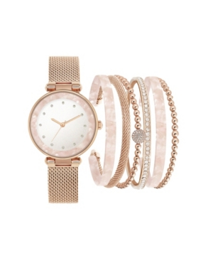 Jessica Carlyle Women's Rose Gold-Tone Metal Multiple Strap Watch 37mm