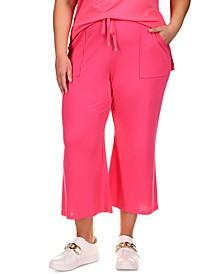 Plus Size Cropped Kick-Flare Jogger Pants