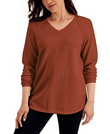 Solid V-Neck Curved-Hem Sweater, Created for Macy's