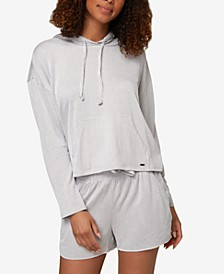 Juniors' Striped Hooded Top