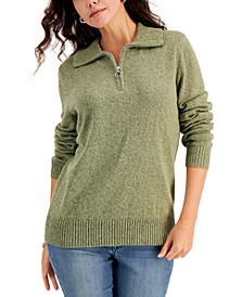 Cotton Marled Quarter-Zip Sweater, Created for Macy's
