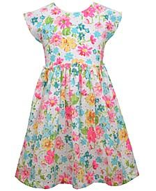 Little Girls Shorts Sleeve Printed Eyelet Dress