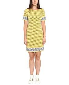 Printed Border-Hem Dress, Regular & Petite Sizes