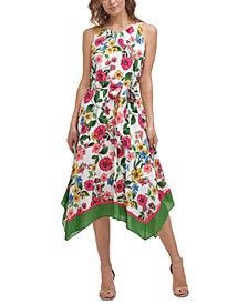 Petite Floral-Print Handkerchief-Hem Dress