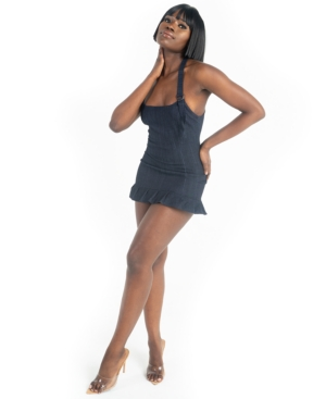 Grayscale Denim Halter Mini Dress