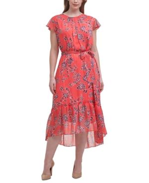 Plus Size Floral-Print A-Line Midi Dress