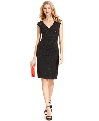 Connected Sequined Lace Sheath Dress - Dresses - Women - Macy's