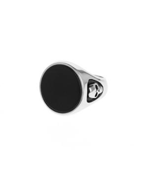 Men's Round Onyx Signet Ring with Skull Shank