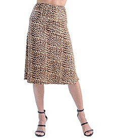 Women's Animal Print Elastic Waist Midi Skirt