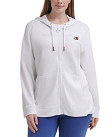 Plus Size Waffle-Knit Zip-Front Hoodie