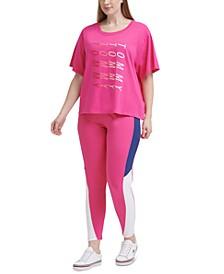 Plus Size Logo-Print T-Shirt & High-Rise Curve Colorblocked Leggings