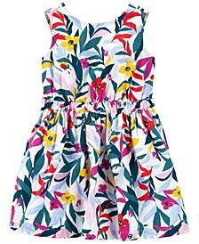 Toddler Girls Floral Linen Dress