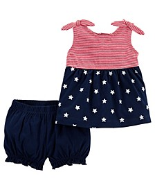 Baby Girls 4th of July Outfit, 2 Piece Set