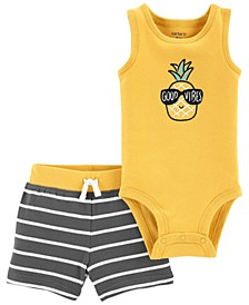 Baby Boys Pineapple Bodysuit Short, 2 Piece Set