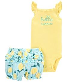 Baby Girls Flutter Bodysuit Short, 2 Piece Set