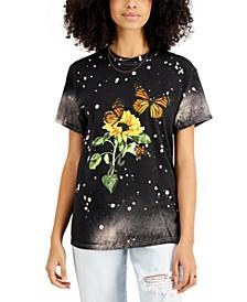 Juniors' Cotton Butterfly-Print T-Shirt