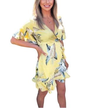 Tropical Print Frill Wrap Dress
