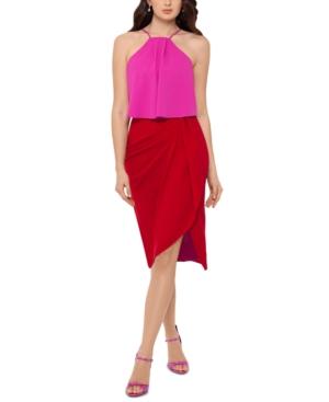 Colorblocked Popover Halter Dress