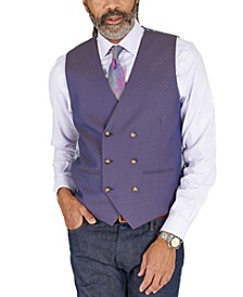 Men's Classic-Fit Blue & Tan Jacquard Reversible Double-Breasted Vest