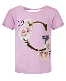 Big Girls Drapey Jersey Flip Sequin T-shirt