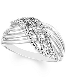 Diamond Crossover Statement Ring (1/4 ct. t.w.) in Sterling Silver