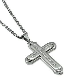 """Men's Cubic Zirconia Cross 24"""" Pendant Necklace in Stainless Steel"""