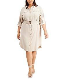Plus Size Roll-Sleeve Shirtdress