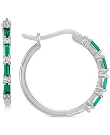 Lab-Created Emerald (3/8 ct .t.w.) & Lab-Created White Sapphire (1/5 ct. t.w.) Hoop Earrings in Sterling Silver (Also in Lab-Created Ruby & Lab-Created Emerald)