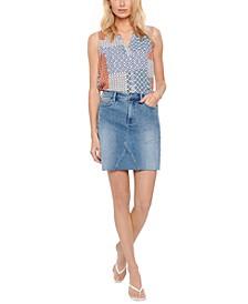 High-Rise A-Line Jean Skirt