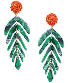 Gold-Tone Beaded Cluster & Shaky Palm Leaf Statement Earrings, Created for Macy's