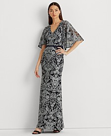 Embroidered Column Silhouette Evening Gown
