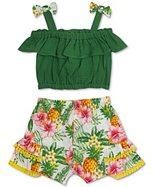 Baby Girls 2-Pc. Solid Top & Printed Shorts Set