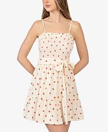 Juniors' Strawberry-Print Smocked Dress