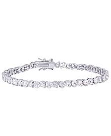 Cubic Zirconia S Link Line Bracelet in Fine Silver Plate