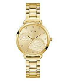 Women's Gold-Tone Floral Dial Watch 38mm
