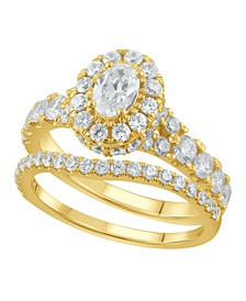 Diamond Halo Oval Bridal Set (2. ct. t.w.) in 14K White, Yellow or Rose Gold