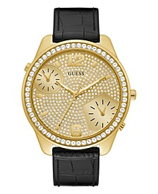 Men's Oversized Dual Time Crystal Gold-Tone Flex Strap Watch 51mm